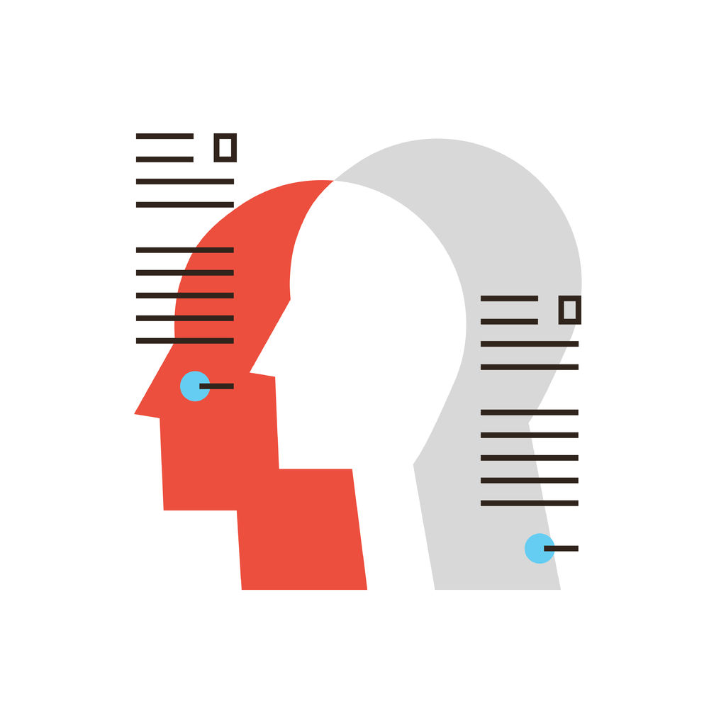 38398722 - thin line icon with flat design element of personal information, profile people, business team workers, management employee, human resource organization.